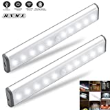 Light Kitchen Cabinets Stick-on Anywhere Portable Little Light Wireless LED Under Cabinet Lights 10-LED Motion Sensor Activated Night Light Build In Rechargeable Battery Magnetic Tape Lights for Closet, Cabinet (Silver2)