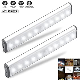 Stick-on Anywhere Portable Little Light Wireless LED Under Cabinet Lights 10-LED Motion Sensor Activated Night Light Build In Rechargeable Battery Magnetic Tape Lights for Closet, Cabinet (Silver2)