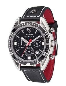 Detomaso Genova - Reloj de cuarzo para hombres, con correa de cuero de color negro, esfera negra