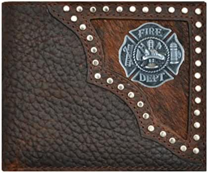 Custom New Fire Fighter Maltese Cross Justin Brown Hair on Hide Bi-Fold Wallet