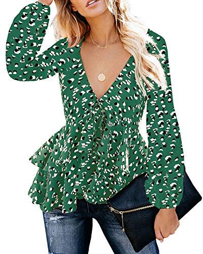(Womens Long Sleeve Floral Shirts Chiffon Flowy Ruffle Peplum High Waist Fashion Blouse Green)