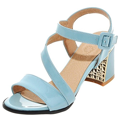 Sandals Strap Fashion Mid TAOFFEN Outdoor Block Heel Women Slingback Blue Summer Buckle xIqw7wv5A