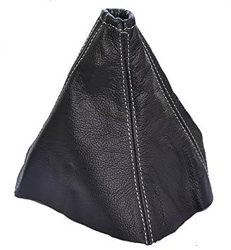 The Tuning-Shop Ltd Funda para Palanca de Cambios de Cuero, Negro con Costuras Grises