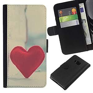 KingStore / Leather Etui en cuir / HTC One M9 / Del amor del corazón del inconformista