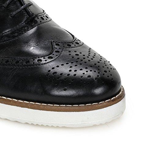 MARINA SEVAL by Scarpe&Scarpe - Zapatos acordonados con punta en cola de golondrina, Zapatos Planos, de Piel Negro