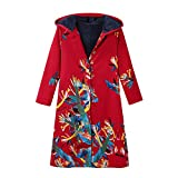 Women Coat Winter Clearance FEDULK Floral Print Vintage Hooded Parka Thick Warm Jacket Outwear(Red, US Size M = Tag L)