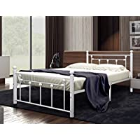Merax Metal Bed Frame Mattress Foundation Two Headboards Platform Bed Frame (Twin, White)