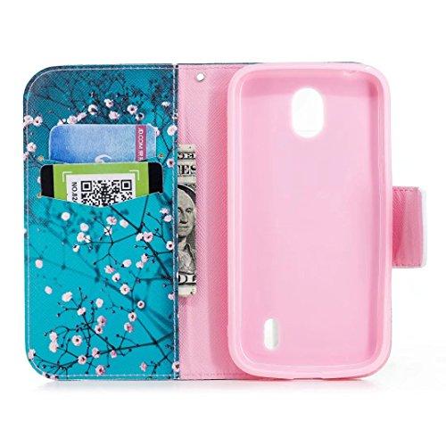 Hülle Nokia 1 Schutzhülle, Ougger Leder Tasche Beutel Flip Stehen Magnetisch Beutel Cover Weich TPU Silikon Schale Handyhüllen Nokia 1 mit ID Kartensteckplatz, Pflaumeblume