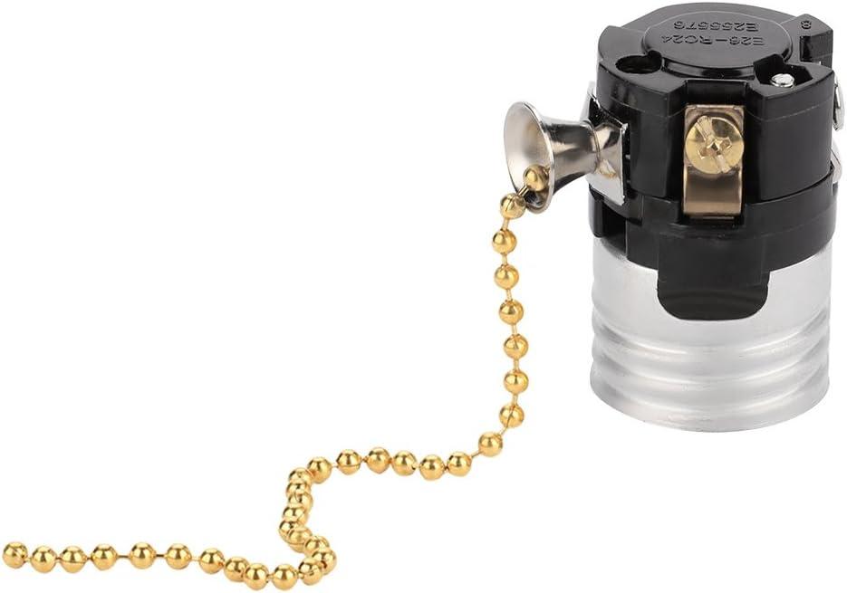 Portalampada Colore : Golden Nikou E27 Presa di luce vintage in alluminio con catenella portalampada portalampada portalampada