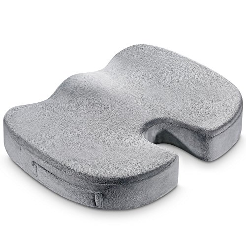 Konnor Memory Foam Seat Cushion Pad, Office Chair Orthopedic Large Firm Comfort Sit Pad - Grey