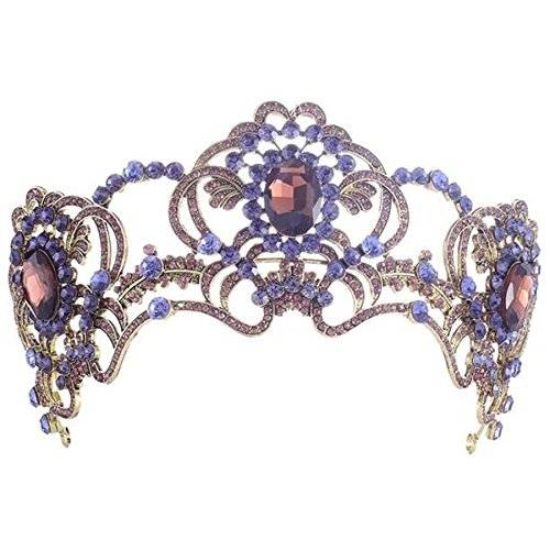 Dowoo Baroque Vintage Purple Wedding Bridal Rhinestone Headband Queen Crown Tiara(HG21) (Purple Rhinestone Crown)