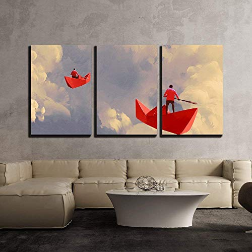 (3Pcs Canvas Wall Art, Modern Giclee Print Home Decor Stretched Framed Gallery Wrapped Painting, Illustration Men on Origami Red Paper Boats Floating in The Cloudy Sky, 24
