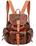 ALTOSY Women Genuine Leather Backpack Handbag Casual Daypack School College Bag 6876 (Red)