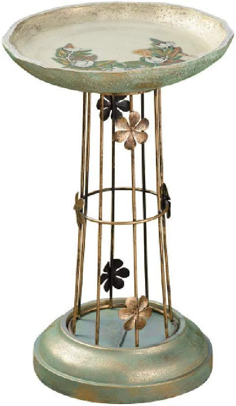 Grasslands Road Flower Bird Bath - Outdoor Garden Yard Décor, Resin, Metal and Acrylic, 17 1/2 by 11 by 11 Inches