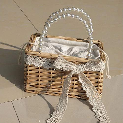 Xlin sommar avslappnad semester natur rotting halm hand och crossbody väska med pärla kedja avtagbar, Axelremsväskor, Bild Bild