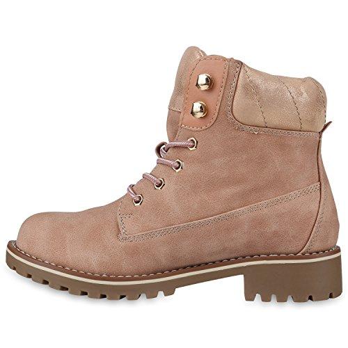 Stiefelparadies Damen Herren Unisex Worker Boots mit Blockabsatz Profilsohle Flandell Rosa Camargo