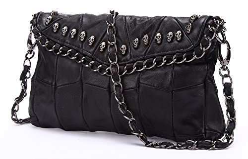 Pulama Skulls Mini Studded Leather Clutch Designer Shoulder Bag Cross Body Purse Womens (Sheepskin Womens Shoulder Bag)