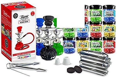 U Pick Color! Green Beamer Pumpkin Hookah Set, 3 Random Flavors 50g Beamer Ice Drops Gel Shisha, 3 Rolls Charcoal (10 Coals/roll; 30 Tablets Total), Limited Edition Beamer Sticker