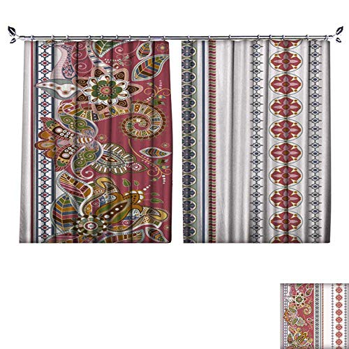 olyester Material Striped Seamless Ethnic Pattern Paisley Ornamental Wallpaper for Children's Room W55 x L72 ()
