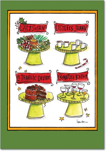 B1597 Box Set of 12 Lazy Susan Unique Humor Christmas Greeting Cards with Envelopes