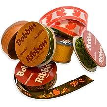 Morex Bobbin Ribbon for Scrapbooking, Autumn Colors, 6-Pack