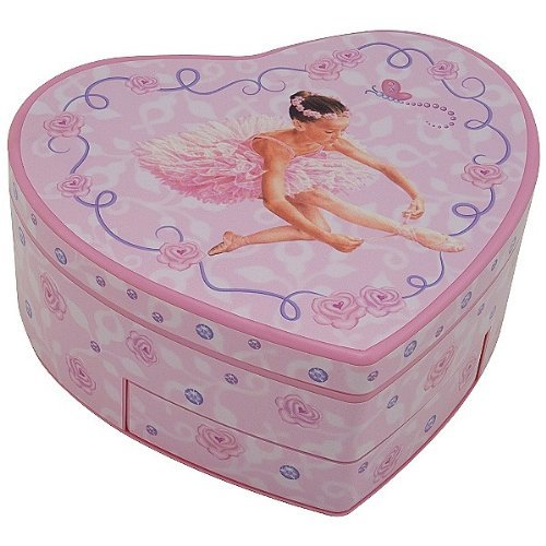 Heart Shaped Ballerina Musical Jewelry Box - With Pop up Bal