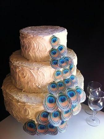 Plumas de Pavo Real – Juego de 24 Assorted- Tarta Decoraciones comestibles, Cupcake Topper por azúcar Robot Inc.: Amazon.es: Hogar