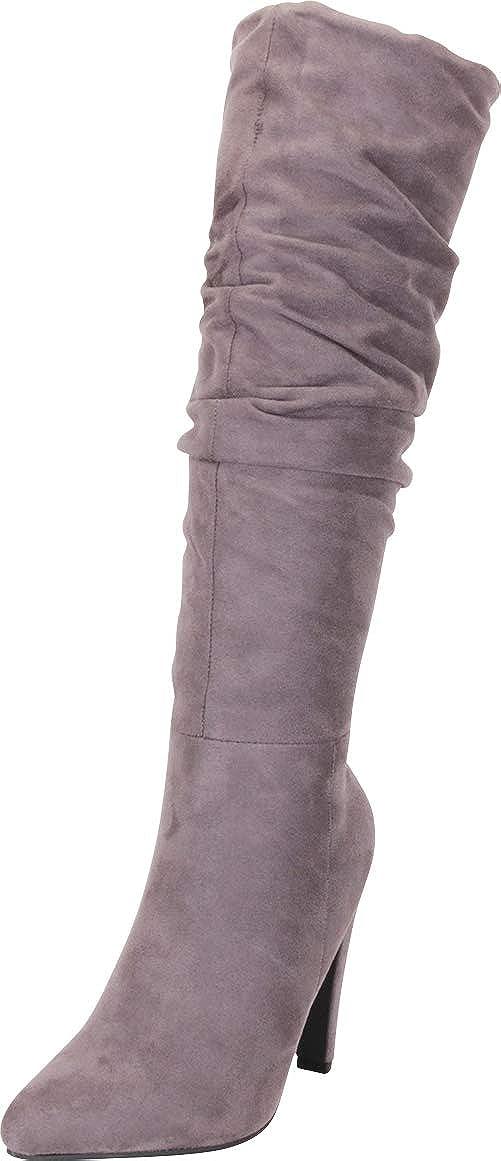 Grey Imsu Cambridge Select Women's Pointed Toe Slouch High Heel Knee-High Boot