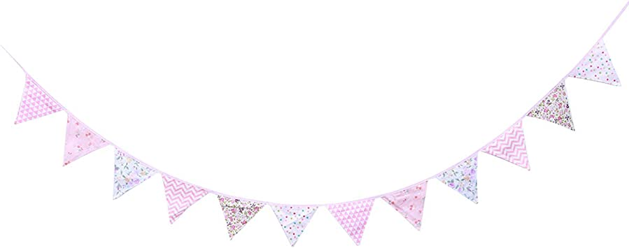 Pink Triangle Flags Bunting Banner Floral Cotton Pennant For Party Wedding Decor
