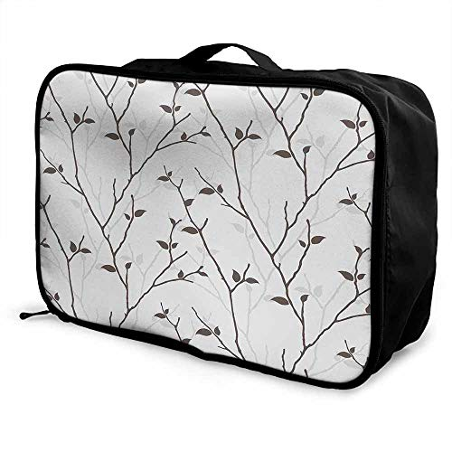 - Leaf Luggage trolley bag Branches in the Fall Trees Stem Twig with Last Few Leaves Minimalistic Design Art Waterproof Fashion Lightweight Pale Grey Brown