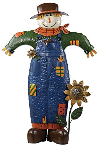 - Sunset Vista Designs 14398 Rustic Scarecrow Garden Sculpture, Painted Metal