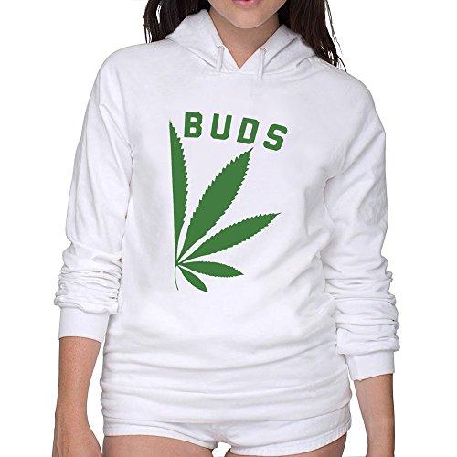 Ccyc Women's Best Buds Necklace Marijuana White Hoodie (Best Buds Necklace Marijuanas)