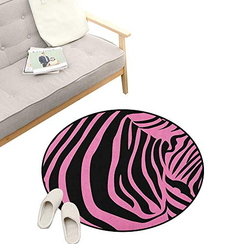(Pink Zebra Round Rug ,Vibrant Background Zebra Skin Artistic Avant Garde Tribal Punk Indie Wild, Art Deco Non-Slip Backing Machine Washable 23