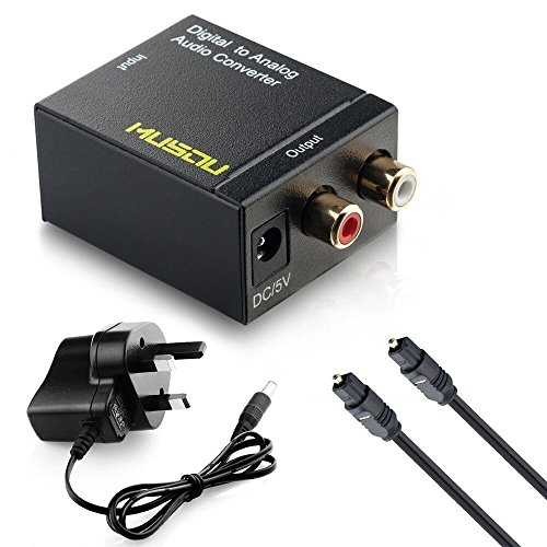 Musou® - [Audio DAC, Digital-to-Analog Converter] | SPDIF Optical Coaxial Toslink | To an Analog Stereo Audio R/L Adapter | And Optical Cable Power supply | For PS3/PS4/XBox/360/HDTV/DVD/Plasma Sky HD Blu-ray Home Theater Systems/AV Amps/Apple TV | Connect to External Amplifier or Sound System | etc. (Black)