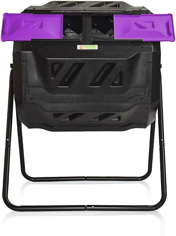 SQUEEZE master Large Compost Tumbler Bin -Outdoor Garden Rotating-Dual Compartment - Better Air Circulation Efficient Compost- BPA Free-Sturdy Steel Frame - 43Gallon (2-21.5Gal)- Purple Door