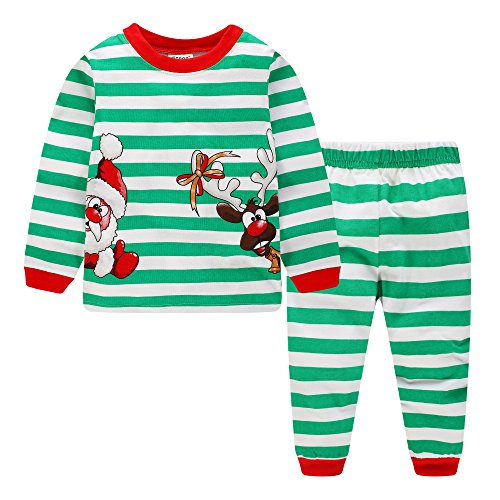 Kids Christmas Pajamas Girls Striped Xmas PJ Big Boys Reindeer Long Sleeve Outfits Set Children Santa Claus Clothes Winter 100% Cotton 2 (Santa 2 Piece Set)