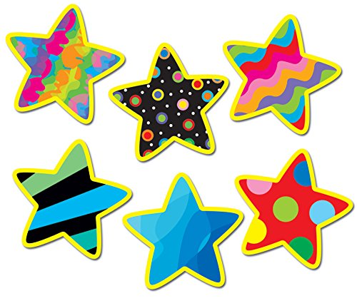 (Creative Teaching Press 1-Inch Mini Designer Cut-Outs, Poppin' Patterns Stars (5928))