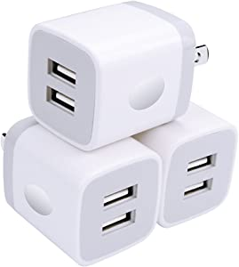 Wall Charger, USB Brick 3Pack 2.1A/5V Dual Port USB Plug Charger Cube Power Adapter Fast Charging Block for iPhone X 8 7 6 Plus 5S, iPad, Samsung Galaxy S8 S7 S6 Edge, LG, ZTE, Moto, Android Phone