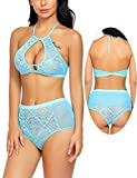ADOME Lingerie Set For Women Lace Bra Panty Underwear Blue L