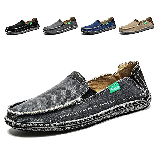 Men's Slip on Deck Shoes Loafers Canvas Boat Shoe Non Slip Casual Loafer Flat Outdoor Sneakers Walking - Non Boat Slip Shoes