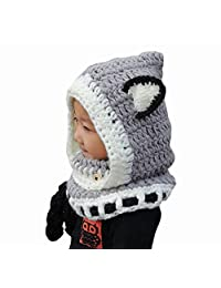 ABC® Winter Wool Knitted Fox Hats Baby Girls Hooded hawls Cowl Beanie Caps … (Gray)