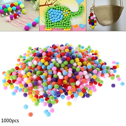 Itlovely 1000Pcs Soft Round Fluffy Craft Pompoms Ball Mixed Color Pom Poms 10mm DIY Craft by Itlovely (Image #2)