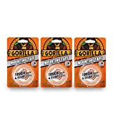 "Gorilla 6065001-3 Double-Sided Tough and Clear Mounting Tape (3 Pack), 1"" x 60"", Clear"