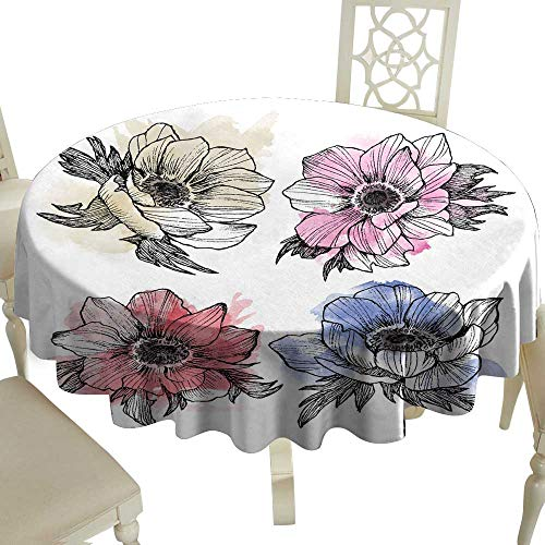 (Dustproof Tablecloth Vintage Anemone Set Hand Drawn Illustration Great for Wedding Invitations Birthday Valentines Save The Date and Greeting Cards Engraved Decor Element with Watercolor spot Great f)