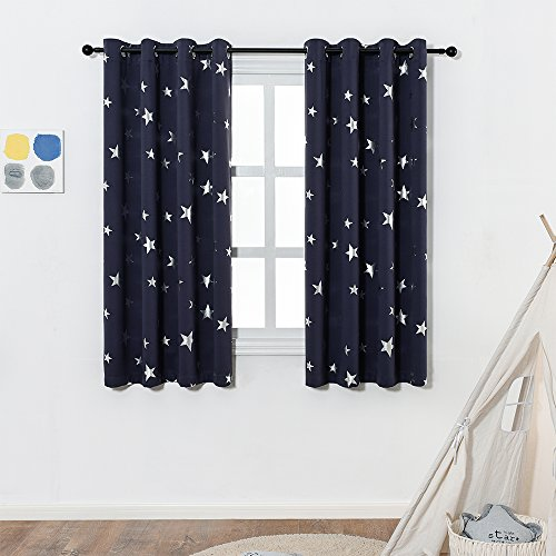 [MOTHER'S DAY]Navy Blue Star Print Blackout Curtains for Kids Room(2 Panels),Thick Thermal Insulated Window Drape for Living Room,Light Blocking Decoration Curtain Panel for Studio,W52xL63