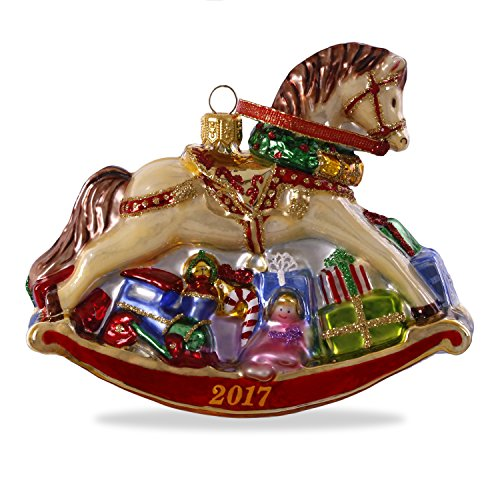 Hallmark Keepsake 2017 Regal Rocking Horse Premium Blown Glass Dated Christmas Ornament (Rocking Horse Home Accents)