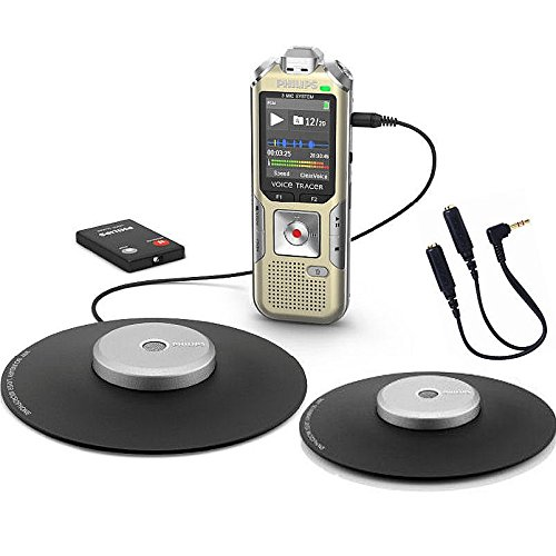YBS Philips 4GB Digital Stereo Conference Recorder Kit with Two Omni-Directional Conference Microphone and Wireless Remote Control