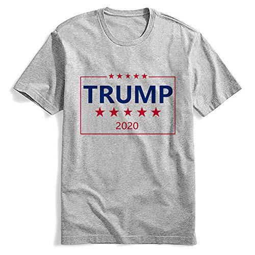 Trump 2020 USA Mens T Shirt - Make America Great Again Donald Trump for President Graphic Tee Shirt(Grey,XXL)