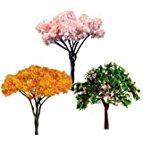 3Pcs Sakura Tree Miniature Dollhouse Garden Decoration Pots Fairy Garden Ornament Decor