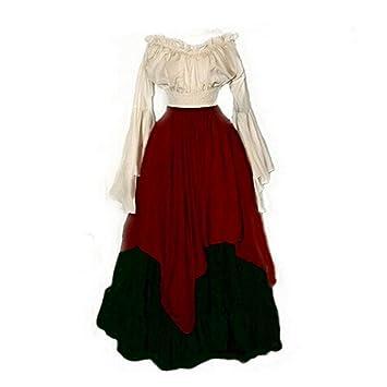 PW Vestidos largos de manga larga para mujer Disfraces medievales renacentistas , 2 , S